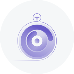 A stylized purple stopwatch in a grey circle.