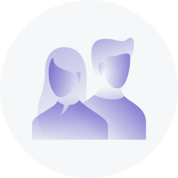 Two stylized purple people in a grey circle.