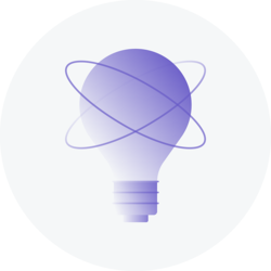 A stylized purple lightbulb with two orbits around it on a grey circular background.